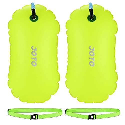 JOTO Nuoto Boa, [2 Pezzi] Pull Buoy da Nuoto Molto Visibile Ultraleggera della Nuotata Tow Float con Cintura Regolabile per Nuotatori in Mare Aperto Triatleti Canoeist Snorkelers -Giallo Neon