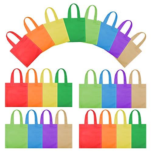 OOTSR 24 Stück Party Geschenk Einkaufstasche, 7,87 Zoll Vliesstoff Mitbringsel Tasche mit Griff Geschenktüte für Kinder Geburtstage / Snacks / Süßigkeiten / Kunsthandwerk, 8 Farben