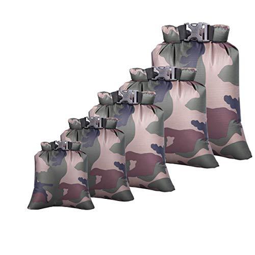 Tangger 5 PCS Waterproof Camping Bag Camouflage, Bolsa de Camuflaje al Aire Libre Bolsa Impermeable para Movil Ropa Adecuado para Deportes al Aire Libre como el Rafting y la Navegación