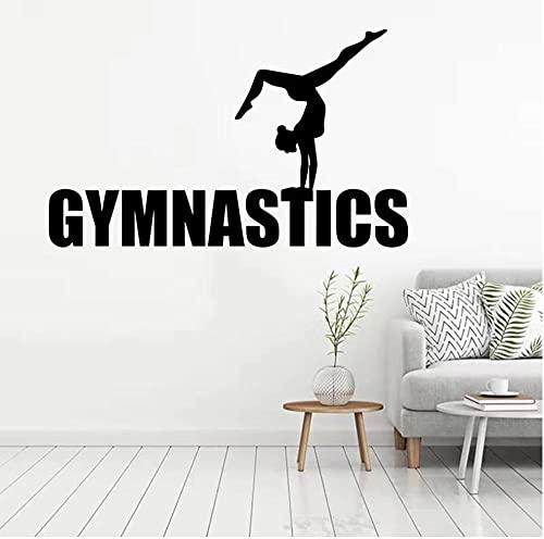 Pegatina de pared de Yoga para niñas de gimnasia, decoración para sala de estar, gimnasio deportivo, arte adesivo, póster deportivo, Mural artístico para pared de baile, 42x66cm