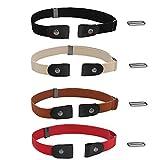 DoDuo Cinturón Sin Hebilla, 4 Piezas Cinturón Elástico Invisible Cinturón Ajustable Cinturón para Mujeres Hombres Jeans Pantalones