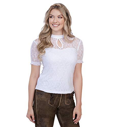 Trachtenbluse Eva - Elegante, transparente und taillierte Bluse - mit schönen Blumen Spitzenmuster - Eva (42, Weiss)