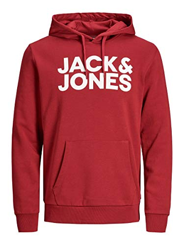 JACK & JONES Essentials Corp Logo Kapuzenpullover Herren, Rot - Weiß, L