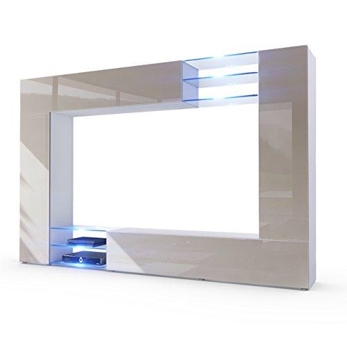 Wohnwand Anbauwand Mirage, Korpus in Weiß matt / Fronten in Sandgrau Hochglanz inkl. LED Beleuchtung