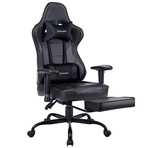 VON RACER Massage Gaming Chair, High Back Racing PC Computer Desk Office Chair Swivel Ergonomic Executive Leather Chair with Footrest and Adjustable Armrests, Black