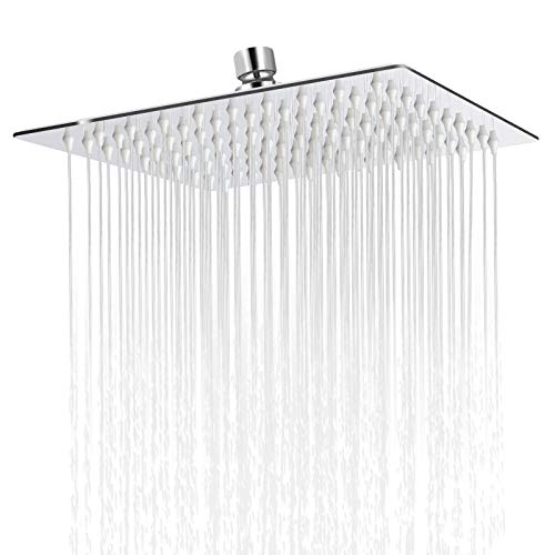Sooreally Rain Shower Head High Pressure, 8 Inch Stainless Steel Square Rainfall Showerhead, Mirror-like, Easy Install, Swivel Spray Angle, Voluptuous Shower Experience, Chrome Finish
