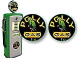 2 Vintage Polly Gasoline 4'' Antique Gas Pump Decals for Garage Service Station Pumps Sign Stickers in Black or Cream Background ((2) 4'x 4' Decals, Black)