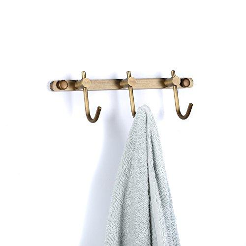 ETECHMART Coat Rack Wall Mounted, 3 Hooks Metal Brass Coat Hook Rail Hanger for Hanging Clothes, Hat, Towel, Purse Robes in Bathroom, Entryway, Bedroom, Living Room, Bronze