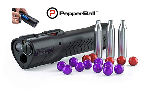 Pepperball LifeLite Personal Defense Launcher with Bonus Rechargeable Battery Kit and Custom Decal Stickers, Non-Lethal Self-Defense Protection