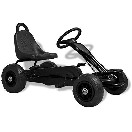 Festnight Kart de Pedales con Neumáticos - Color de Negro Material de Hierro y Plástico, 90 x50x51 cm
