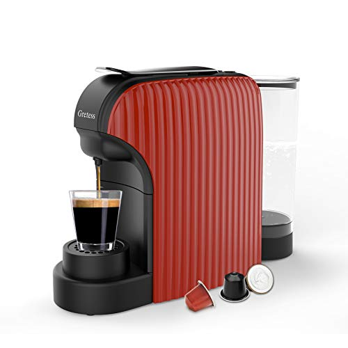 Espresso Machine, Coffee Machine Programmable Buttons for Espresso and Lungo, Compatible with Nespresso Capsules, Italian 20 Bar High Pressure Pump, 34 Oz Water Tank, Gretess, OPT-07MR-1