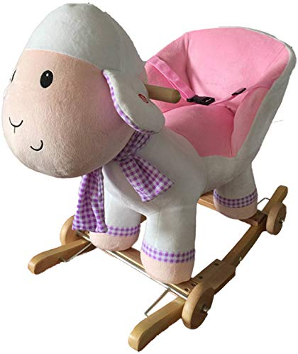 NEW Plush White / Pink LAMB (SHEEP) Rocking Chair - Deluxe Soft Finish on Wooden Rockers with wooden handles - including Sound Effects