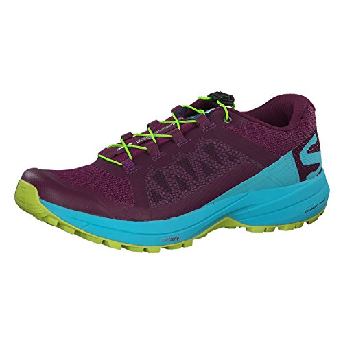 Salomon Women's XA Elevate Trail Running Shoe, Dark Purple/Blue Curacao/Acid Lime, 9.5