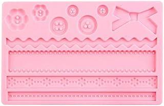 HUANGMENG Moldes Accesorios de cocina Decoraciones Botones Fondant Molde Herramientas para hornear de silicona (Rosa