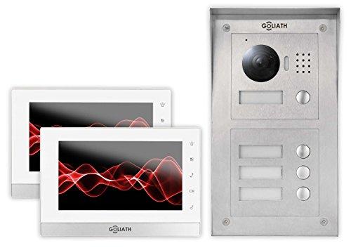 GOLIATH IP Türsprechanlage mit Kamera, Aufputz Türstation, Edelstahl, HD Kamera, App mit Tür Öffner Funktion, LCD Monitor, Video-Speicher, 2 Familienhaus Set, AV-VTC56