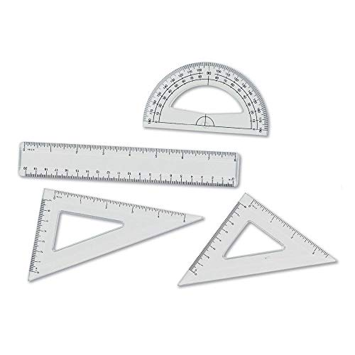 hand2mind Clear Plastic 4 Pcs Geometry Kit Includes Protractor, 2 Triangle Rulers, and 8-Inch Ruler, Geometry Set for Kids, Homeschool Supplies, Student Math Supplies (Set of 4)