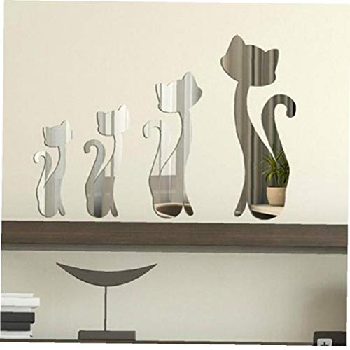 Zonfer 3D Katzen Spiegel-Aufkleber-Kunst-wandaufkleber Home Interior Dekorative Widget 4pcs