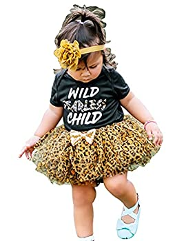 Baby Girls Summer Clothes Wild Fearless Child Letter Printing Romper Outfits Set Leopard Tutu Dresses Shorts Skirts Sets 3-6 Months