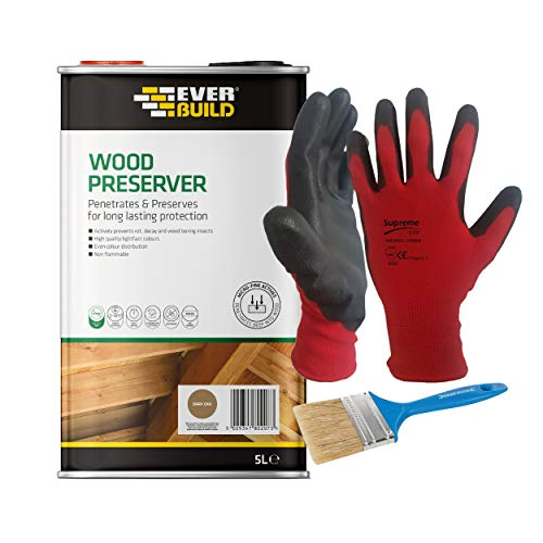 Nassboards Everbuild Lumberjack Wood Preserver - Solvent Free With Micro-fine Active Technology - Algae & Fungus Resistant, Single COak Wood Protector For Interior and External Use - 5 Litre, Dark Oak