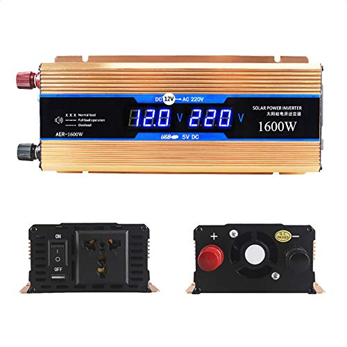 800W (1600W Peak) Sinus Wechselrichter spannungswandler Transformator DC 12V auf AC 230V mit USB Anschlüssen