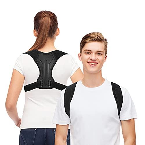 MoKo Back Posture Corrector, Adjustable Back Brace Shoulder Lumbar Support Belt Men Women Back Straightener Cervical Traction for Muscle Relax, Spine Alignment, Neck Pain Relieve, Black