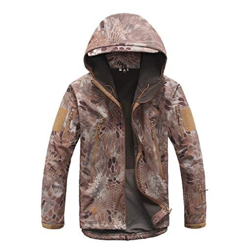 MKJYDM Camouflage Jacke Frühling und Herbst gelten Desert Plus Samt Winddicht wasserdicht kalt warm Sportbergsteigen Radfahren Tarnen (Size : XL)