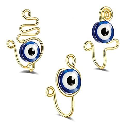 Ruluti 3pcs Nariz Falsa No Perforada Pendientes del Aro del Anillo del Labio del Oído del Clip De Joyería De Mujeres De Los Hombres Cuerpo