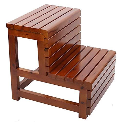 DNSJB step stool Taburete de madera de 2 capas, taburete de escalera para el hogar, cocina, taburete simple para niños (color: B)