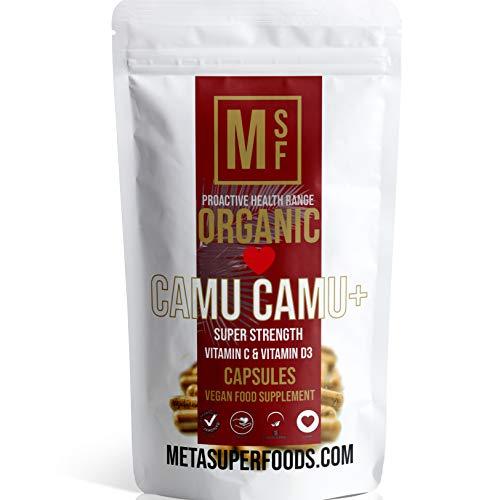 CAMU CAMU | 120 Capsules | Super Strength 1000mg | Vitamin C and Vitamin D3 | Immune Boost | Vegan | NO FILLERS NO Binders | Non GMO | Made in UK