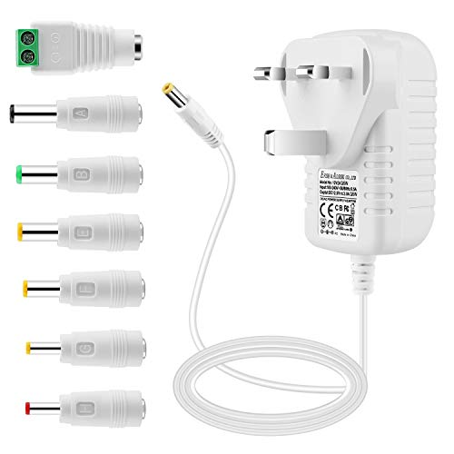 EFISH 12V 3A 36W Power Supply,AC to DC Adapter EFISH Power Supply with 7 Selectable Adapter Conversion Heads fit for Led Strips,CCTV Camera,Cisco Router,Router,Alarm bell,Case Fan,CE Approved(White)