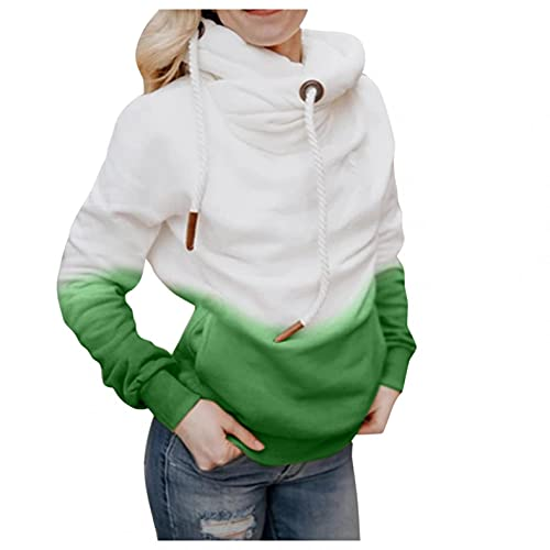 Nulairt Women Hooded Sweatshirts Fashion Gradient Drawstring Long Sleeve Pullover Tops Casual Hoodies with Pockets Green