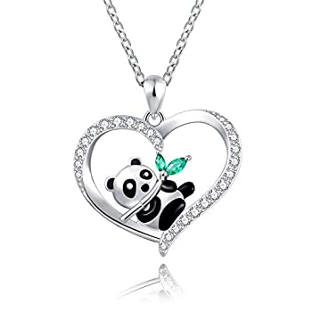 925 Sterling Silver Panda Pendant Necklace with Bamboo Engraved I love you forever Gift Women Girls  cute panda with bamboo