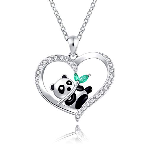 925 Sterling Silver Panda Pendant Necklace with Bamboo Engraved I love you forever Gift Women Girls (cute panda with bamboo)