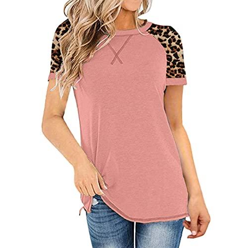 DOLAA Tops con Estampado de Leopardo para Mujer Camiseta de Manga Corta con Cuello Redondo Camiseta básica Casual Cuello Redondo Empalme Camiseta de Verano Camiseta con Cuello Redondo Camiseta Lisa