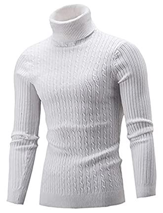 Aideaone Jersey de punto para hombre, cuello alto, cálido, básico, cuello alto Blanco S