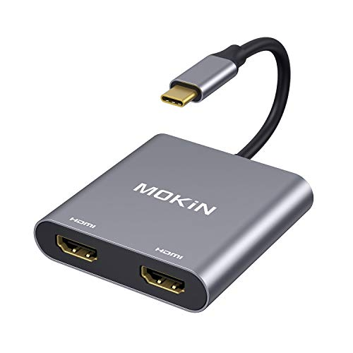 USB C to Dual HDMI Adapter 4K @60HZ, MOKiN Type C to HDMI Converter for MacBook/MacBook Pro 2020/2019/2018,MacBook Air 2018,Chromebook Pixel,LenovoYoga 720/730,Surface Book 2, Samsung Galaxy etc
