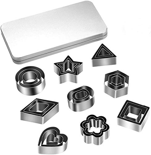 27PCS Mini Cookie Cutters, Geometric Shapes Metal Cookie Biscuit Cutter Set, Star Flower Hexagon Round Heart Square Triangle Oval Stainless Steel Cutter for Baking