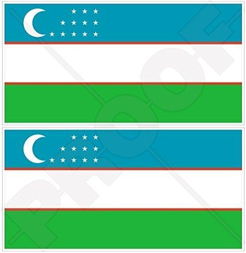 USBEKISTAN Usbekische Flagge, Fahne Usbekisch 110mm Auto & Motorrad Aufkleber, x2 Vinyl Stickers
