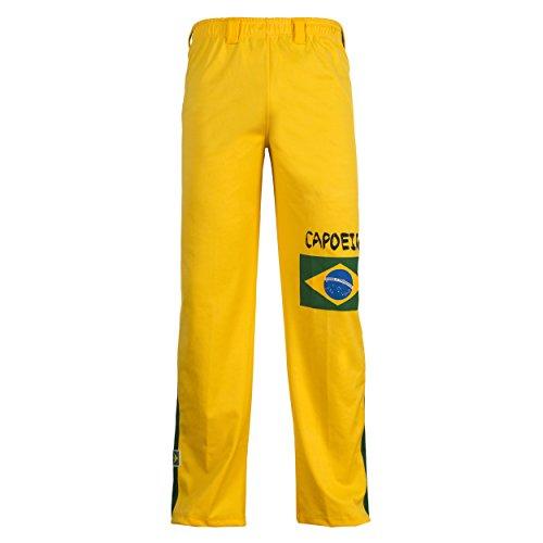 JL Sport Autentico Pantaloni Brasileiana Capoeira Arti Marziali degli Uomini (Giallo con Bandiera Brasileiana) - M