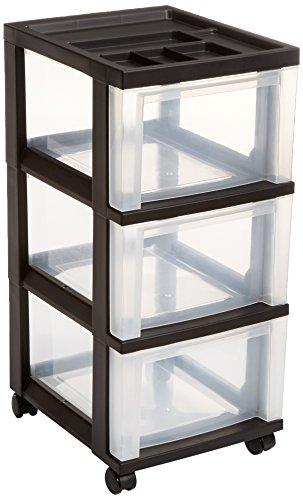 IRIS 3-Drawer Rolling Storage Cart with Organizer Top, Black