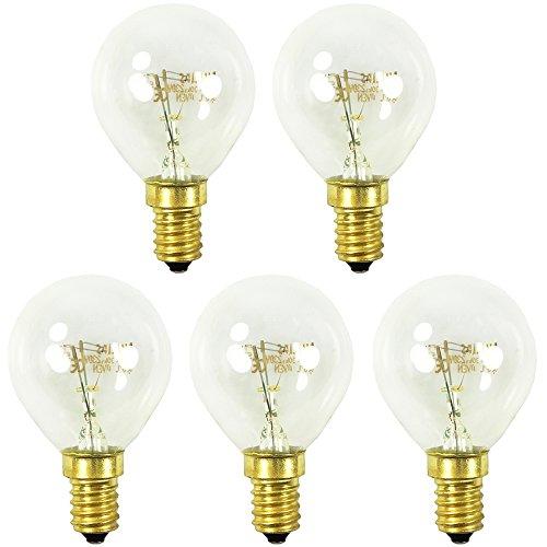 com-four® 5x Backofen-Lampe bis 300° C, warm-weiße Herd-Glühbirne 40W, E14, P45, 230V (05 Stück - 40W goldfarben)