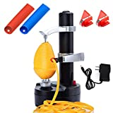 Electric Potato Peeler Automatic Apple Peeler, Smart Vegetable Fruit Peeler Machine, Stainless Steel Kitchen Peeling Tool [1 Adapter 2 Extra Blades] with 2 Set Garlic Peeler