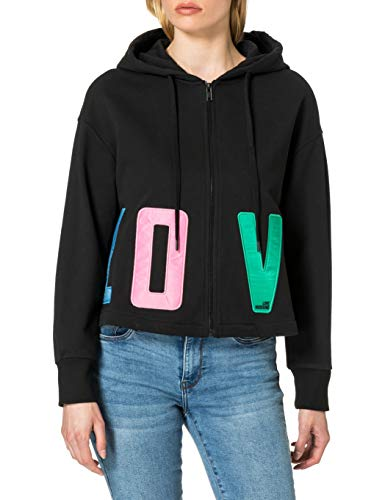Love Moschino Fleece Cropped Sweatshirt with Open Bottoms Giacca, Nero, 44 Donna