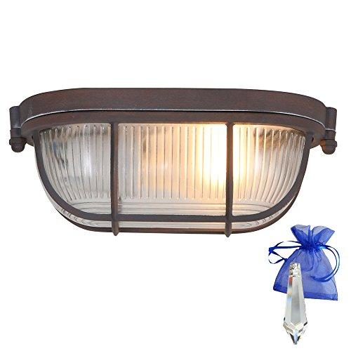 Wandleuchte braun in Rost Optik L. 21cm Vintage E27 auch als Deckenleuchte verwendbar/Retro Industrie-Lampe Bootsleuchte Schiffsleuchte Design-Kellerleuchte 230V + Giveaway