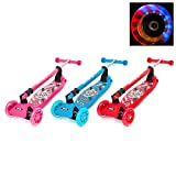 CMY Little Kids Three Wheel Kick Scooter - Perfect for Children Aged 3+ - LED Light-Up Wheels, Foldable Design, Adjustable Handles & Lightweight Construction (PINK)