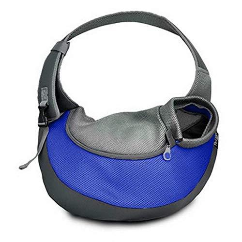 TEFIRE Welpen Tragetasche Hundetasche Umhängetasche Transporttasche Schultertasche für Hunde Katzen kleine Haustiere (L (bis zu 4kg), Blau)
