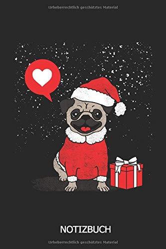 Notizbuch: DIN A5  Weihnachts Hunde Notizheft als Weihnachtsgeschenk   110 Seiten liniertes Hund Notizbuch mit Weihnachtsmütze für die Schule, Uni, Arbeit   Geschenkidee für Weihnachten