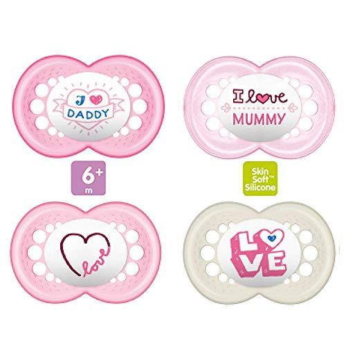 MAM Ciuccio in silicone 6-16 mesi, set da 4 pezzi -I love Daddy-Mummy-, con 2 scatole sterilizzate