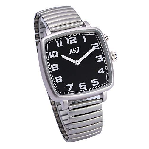 Función de despertador, función de voz, hora y fecha, esfera negra, correa de acero inoxidable TGSW-1708G.