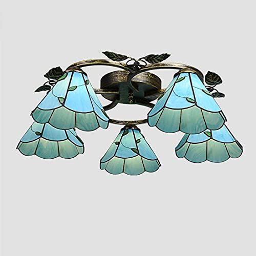 Phononey Vintage Mediterranean Glass Ceiling lamp, Vintage Round Shade Ceiling lamp for Bedroom Living Room, E27 (no Bulb), Clear, 3 Good Family (Color : Blue)